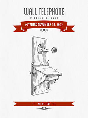 1907 Wall Telephone Apparatus Patent Drawing - Retro Red Poster by Aged Pixel