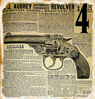 1908 Revolver Ad Poster by Cheryl Young