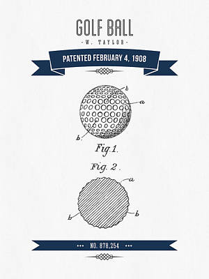 1908 Taylor Golf Ball Patent Drawing - Retro Navy Blue Poster by Aged Pixel