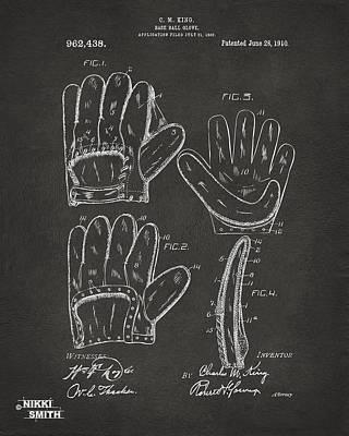 1910 Baseball Glove Patent Artwork - Gray Poster by Nikki Marie Smith