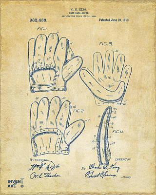 1910 Baseball Glove Patent Artwork Vintage Poster by Nikki Marie Smith
