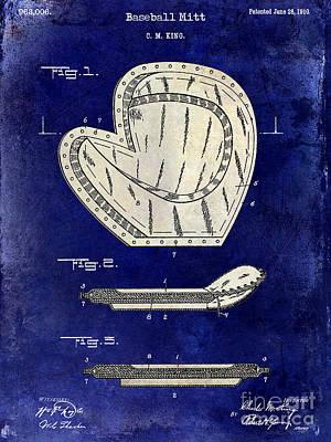 1910 Baseball Patent Drawing 2 Tone Blue Poster by Jon Neidert