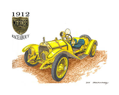 1911 1912 Mercer Raceabout R 35 Poster by Jack Pumphrey