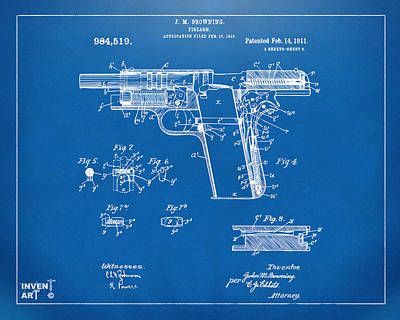 1911 Colt 45 Browning Firearm Patent 2 Artwork Blueprint Poster by Nikki Marie Smith