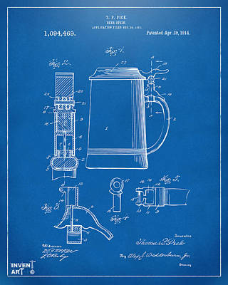 1914 Beer Stein Patent Artwork - Blueprint Poster by Nikki Marie Smith