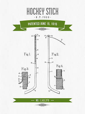 1915 Hockey Stick Patent Drawing - Retro Green Poster by Aged Pixel