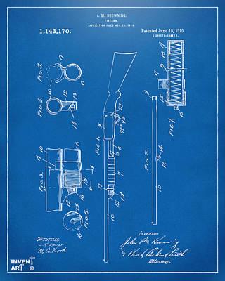 1915 Ithaca Shotgun Patent Blueprint Poster by Nikki Marie Smith