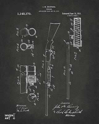 1915 Ithaca Shotgun Patent Gray Poster by Nikki Marie Smith