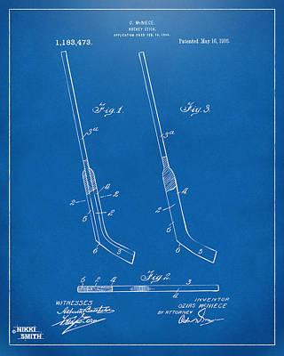 1916 Hockey Goalie Stick Patent Artwork - Blueprint Poster by Nikki Marie Smith