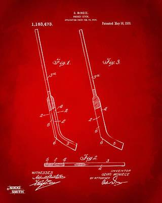 1916 Hockey Goalie Stick Patent Artwork - Red Poster by Nikki Marie Smith