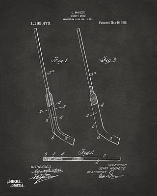1916 Hockey Goalie Stick Patent Artwork - Gray Poster by Nikki Marie Smith