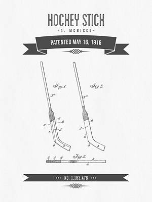 1916 Hockey Stick Patent Drawing - Retro Gray Poster by Aged Pixel