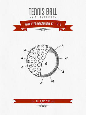 1918 Tennis Racket Patent Drawing - Retro Red Poster by Aged Pixel