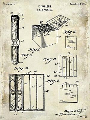 1921 Cigar Package Patent Drawing  Poster by Jon Neidert