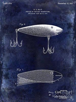 1921 Fish Bait Patent Drawing Blue Poster by Jon Neidert