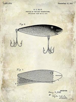 1921 Fish Bait Patent Drawing Poster by Jon Neidert