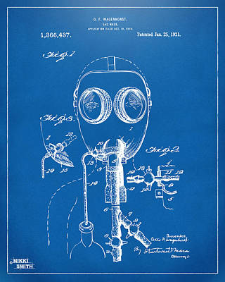1921 Gas Mask Patent Artwork - Blueprint Poster by Nikki Marie Smith