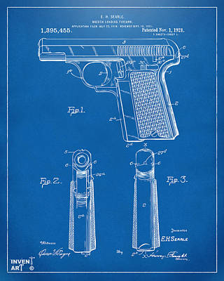 1921 Searle Pistol Patent Artwork - Blueprint Poster by Nikki Marie Smith
