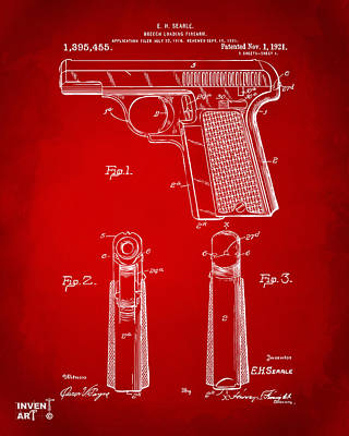 1921 Searle Pistol Patent Artwork - Red Poster by Nikki Marie Smith