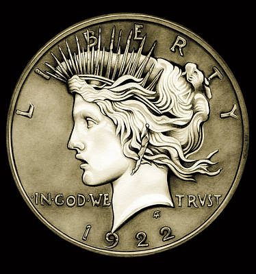 1922 Circulated Peace Dollar Poster by Fred Larucci