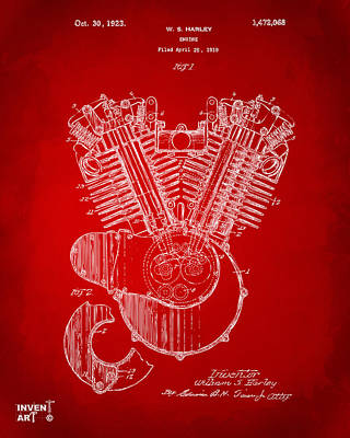 1923 Harley Engine Patent Art Red Poster by Nikki Marie Smith