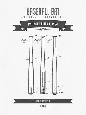 1924 Baseball Bat Patent Drawing Poster by Aged Pixel