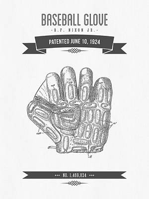 1924 Baseball Glove Patent Drawing Poster by Aged Pixel