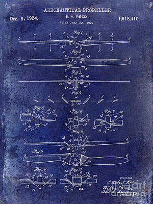 1924 Propeller Patent Drawing Blue Poster by Jon Neidert