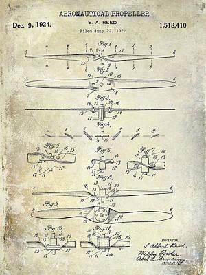 1924 Propeller Patent Drawing Poster by Jon Neidert
