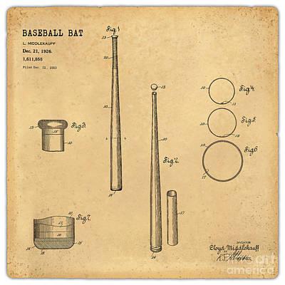 1926 Baseball Bat Patent Art Middlekauf 1 Poster by Nishanth Gopinathan