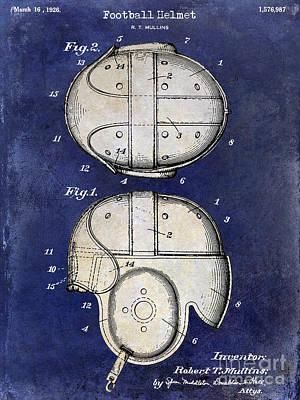 1926 Football Helmet Patent Drawing 2 Tone Blue Poster by Jon Neidert