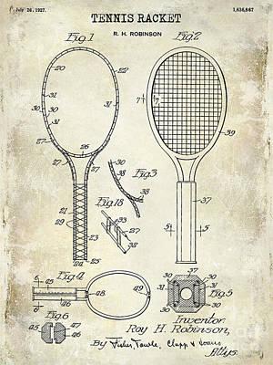 1927 Tennis Racket Patent Drawing  Poster by Jon Neidert