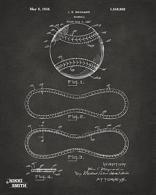 1928 Baseball Patent Artwork - Gray Poster by Nikki Marie Smith