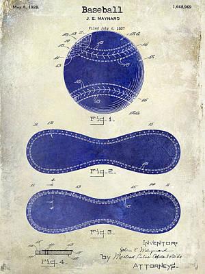 1928 Baseball Patent Drawing 2 Tone Poster by Jon Neidert