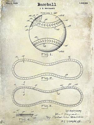 1928 Baseball Patent Drawing  Poster by Jon Neidert