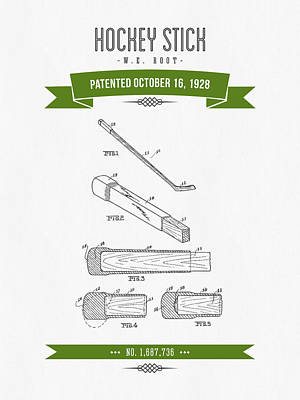 1928 Hockey Stick Patent Drawing - Retro Green Poster by Aged Pixel