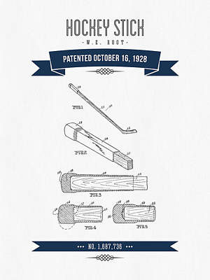 1928 Hockey Stick Patent Drawing - Retro Navy Blue Poster by Aged Pixel