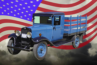 1929 Blue Chevy Truck And American Flag Poster by Keith Webber Jr