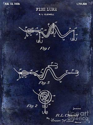 1929 Fish Lure Patent Drawing Blue Poster by Jon Neidert