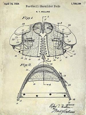 1929 Football Shoulder Pads Patent Drawing Poster by Jon Neidert
