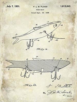 1931 Fish Bait Patent Drawing Poster by Jon Neidert