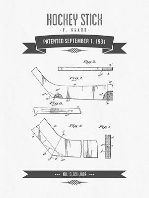 1931 Hockey Stick Patent Drawing - Retro Gray Poster by Aged Pixel