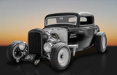 1932 Ford Deuce Coupe - Sunday Stripper Poster by Frank J Benz