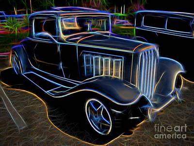 1932 Nash Coupe Antique Car - Neon Poster by Gary Whitton