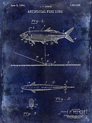 1934 Artificial Fish Lure Patent Drawing Blue Poster by Jon Neidert