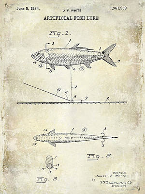 1934 Artificial Fish Lure Patent Drawing Poster by Jon Neidert