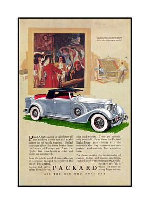 1934 Packard 12   1107 Roadster Vintage Ad Poster by Jack Pumphrey