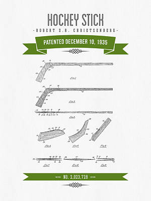1935 Hockey Stick Patent Drawing - Retro Green Poster by Aged Pixel
