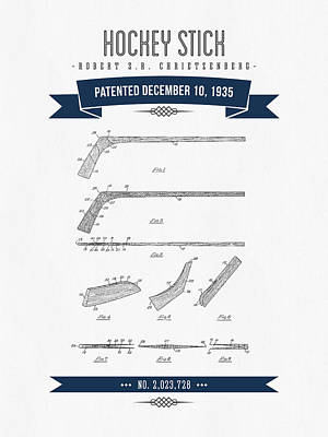 1935 Hockey Stick Patent Drawing - Retro Navy Blue Poster by Aged Pixel