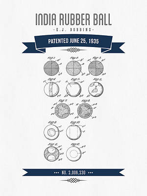 1935 India Rubber Ball Patent Drawing - Retro Navy Blue Poster by Aged Pixel